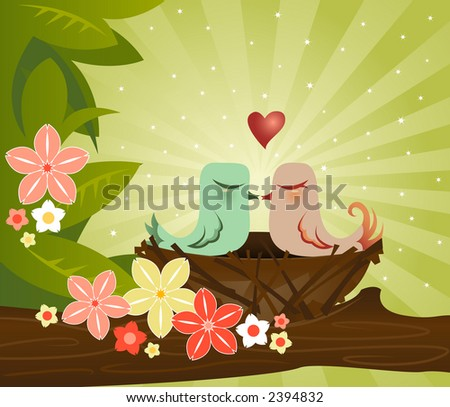 Two birds kiss in their cozy little nest - surrounded by leaves and flowers - stock photo