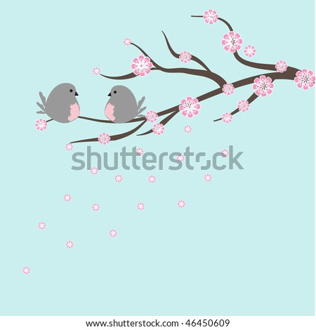 Two birds on sakura branch. - stock photo
