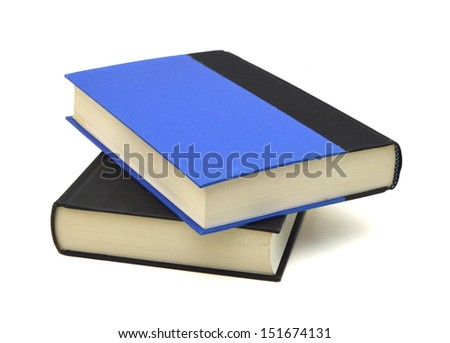 Two black and blue hardcover books isolated on white background  - stock photo