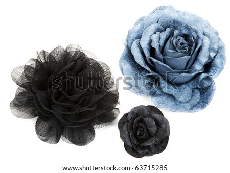 Two black and one blue flower rose from lace on white background - stock photo