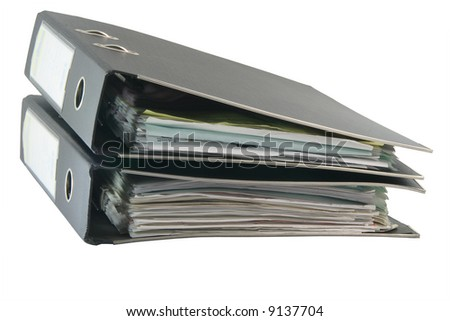 two black archive business folders with clipping path isolated on white background - stock photo