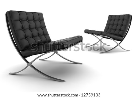two black armchairs isolated on white background - stock photo