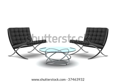 two black armchairs with table isolated on white background - stock photo