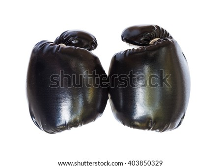 two black boxing gloves ,isolated with white background. - stock photo