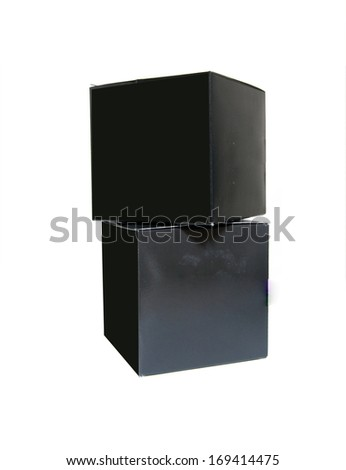 two black cardboard box isolated on a white background - stock photo