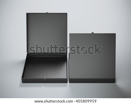Two black cardboard packages isolated on gray background. 3d rendering