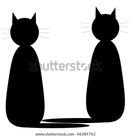 Two black cats on white