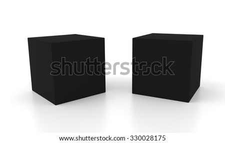 Two black 3d concept boxes with shadows isolated on white background. Rendered illustration.