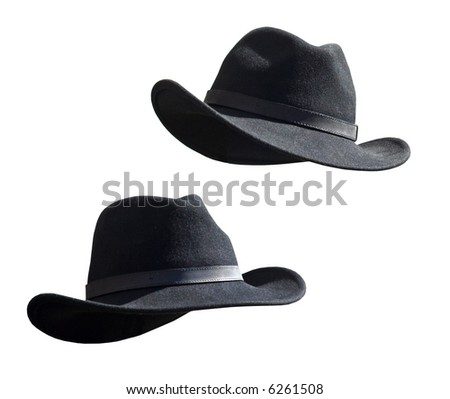 Two Black Felt stetsons - stock photo