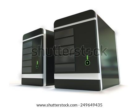Two black futuristic web hosting server racks isolated on white background - stock photo
