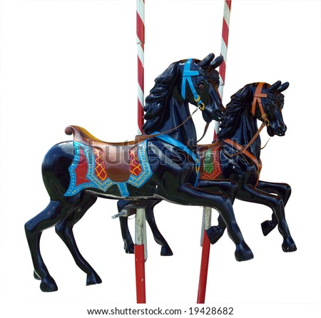 Two Black Merry-Go-Round Horses isolated with clipping path - stock photo