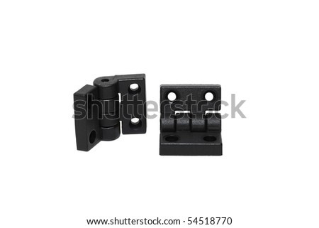 two black plastic hinges isolated on white