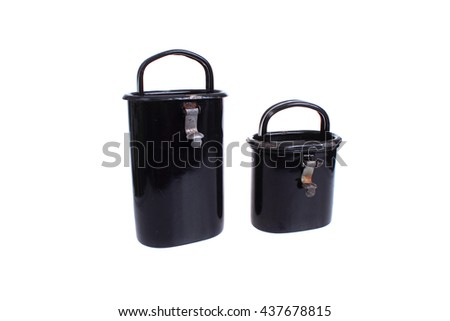 Two black retro containers for storing food on a white background