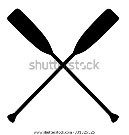 Two black silhouette of crossed oars raster isolated. Rowing oars. Plastic oars. Water sport - stock photo