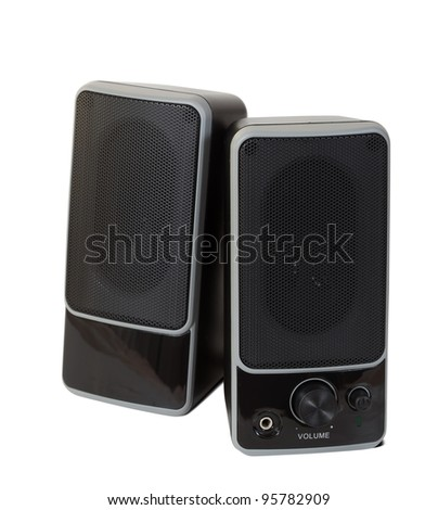 two black  speaker. Isolated  over white background with shadow - stock photo