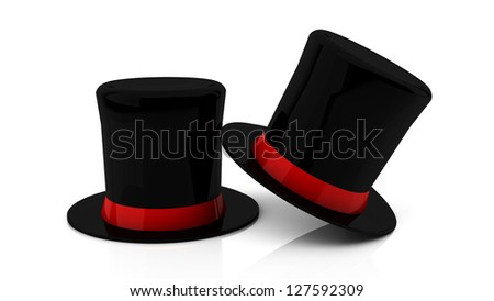 Two black top hat in 3d on white background - stock photo