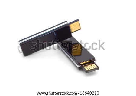Two black usb flash drives isolated on white