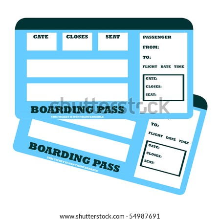 Two blank aircraft boarding pass with copy space, isolated on white background.