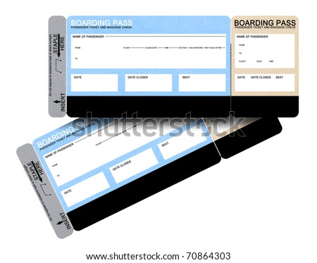 Two blank airline boarding pass tickets isolated on white - stock photo