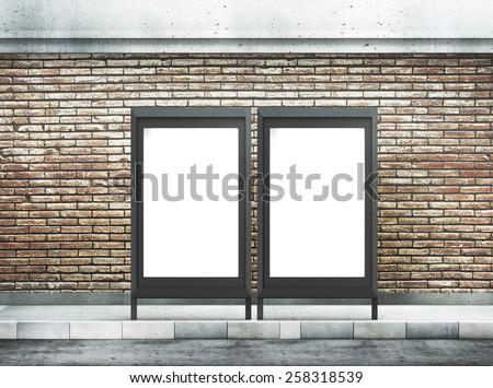 Two blank billboard on street - stock photo