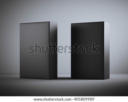 Two blank black boxes in dark studio. 3d rendering
