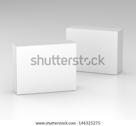 two blank boxes isolated on gray. render - stock photo