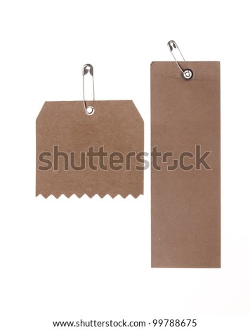 two blank cardboard paper labels  isolated on the white background