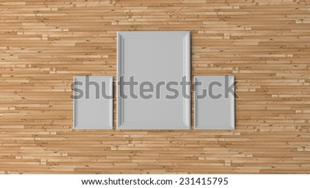 Two blank 3d wooden white frames on wooden wall waiting for art - stock photo