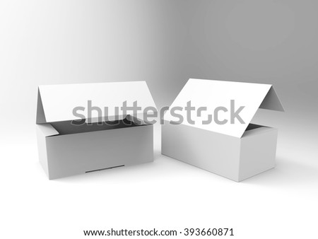 Two Blank Half-Open boxes, isolated on a white background. Template for your design. - stock photo