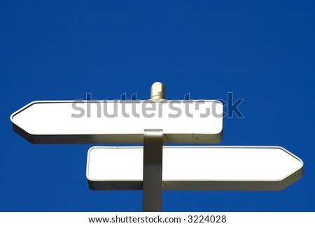 two blank information signs ready for your text - stock photo
