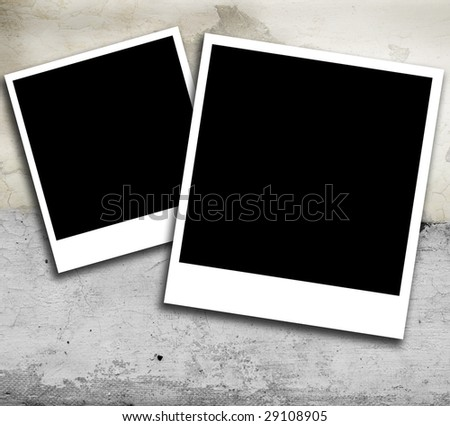 Two blank instant photo style frames against grunge retro texture background.