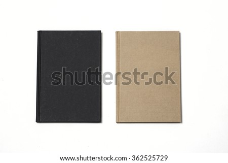 Two blank note book brown and black on white paper background - stock photo