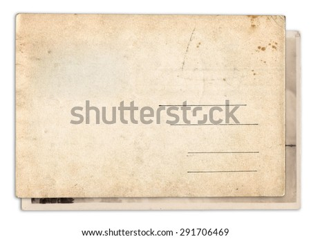Two blank old vintage postcard isolated on white background