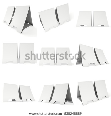 Two blank paper tent cards set. 3d render illustration isolated. Table cards mock up on white background.