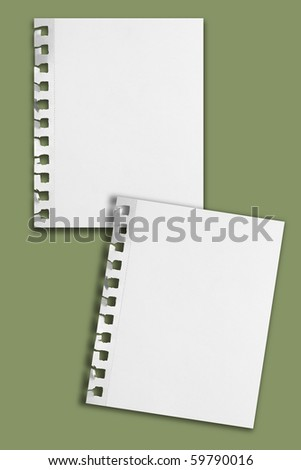 Two blank perforated notepaper sheets with ripped holes and shadows on faded green background. - stock photo
