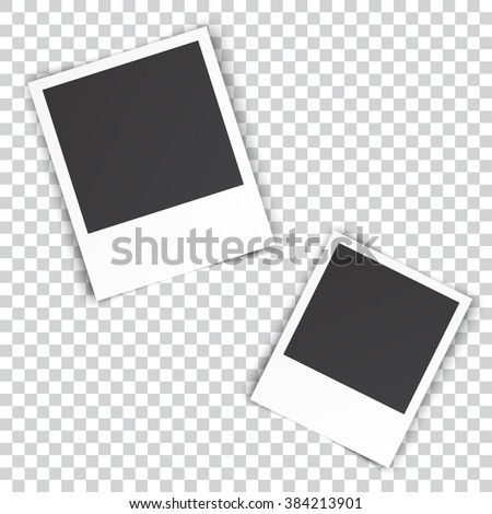 two blank photo pinned on white wall. photo frame with shadow on a transparent background for your object. illustration Raster version - stock photo