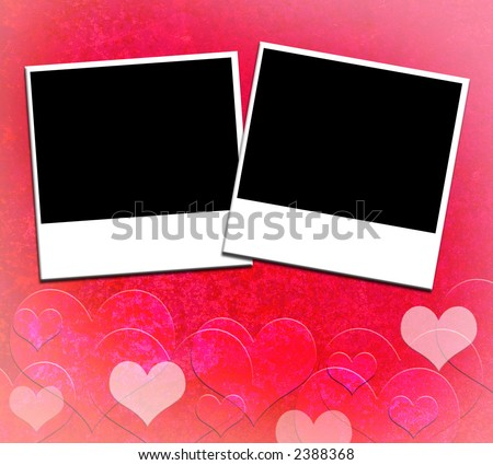 Two blank photos on Valentine Heart Grunge background (add your photos) Show off a couple in love.