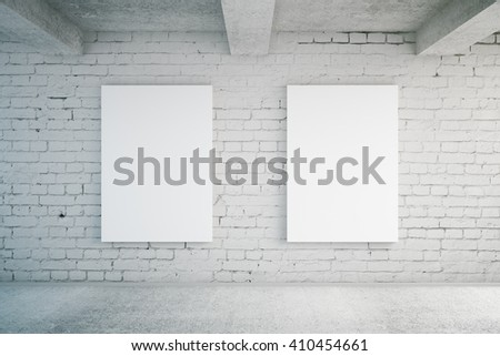 Two blank posters in room with brick wall and concrete floor. Mock up, 3D Rendering - stock photo