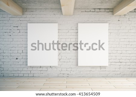Two blank posters in room with brick wall and wooden floor. Mock up, 3D Rendering - stock photo