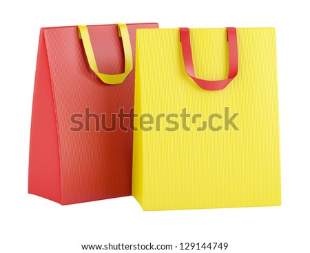 two blank red and yellow shopping bags isolated on white background - stock photo