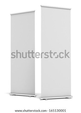 Two Blank Roll Up Display Banner - stock photo