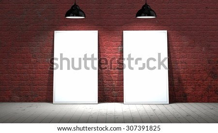 two blank screen frames on old brick wall and wooden floor illuminated with spotlights