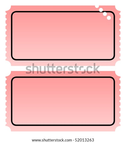 Two blank ticket, one punched, isolated on white background with copy space. - stock photo