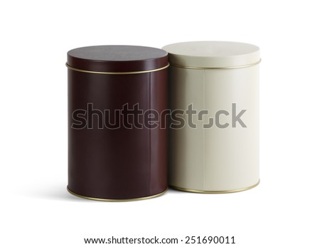 Two blank tin cans for loose products on a white background. Isolated with clipping path. - stock photo