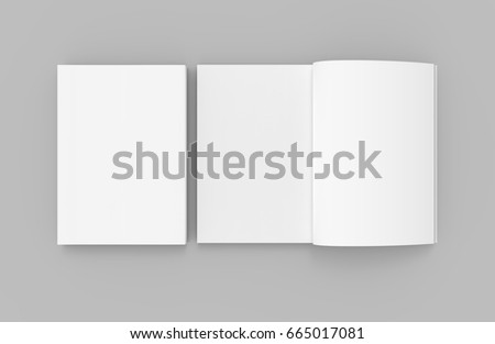 two blank white 3d rendering books, one open, gray background, top view