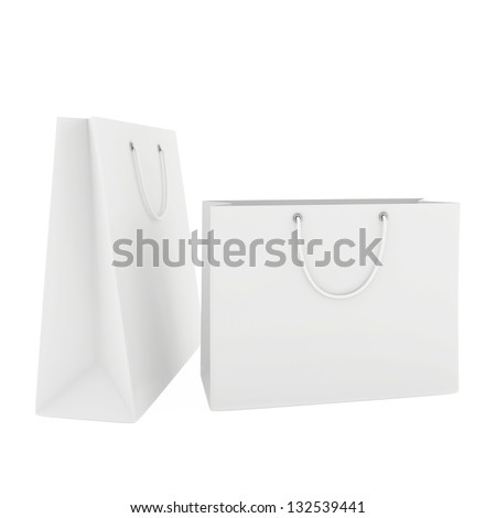 two blank white paper bags - stock photo