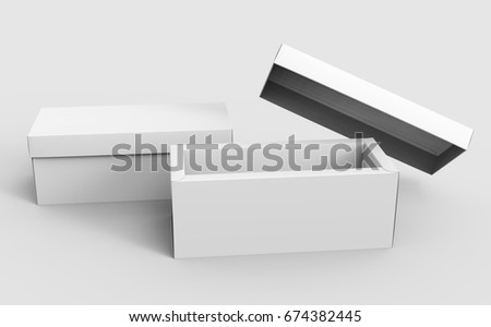 two blank white paper boxes for design uses, one open and the other do not, 3d rendering