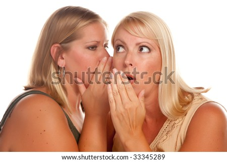 Two Blonde Woman Whispering Secrets Isolated on a White Background. - stock photo