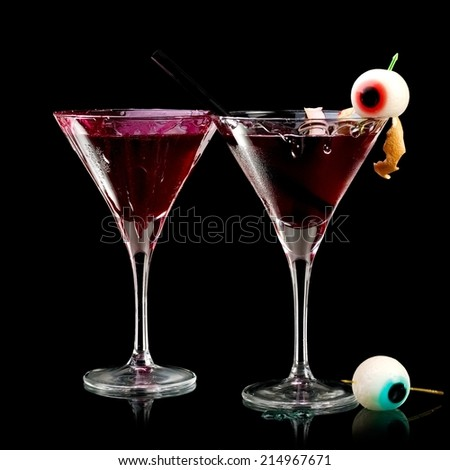 Two bloody Halloween cocktails - stock photo