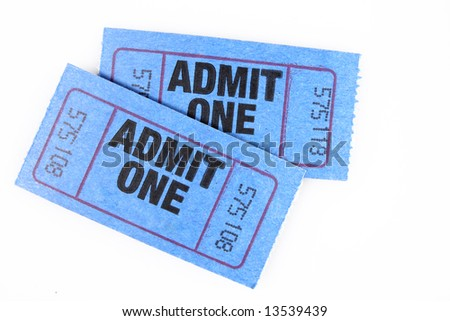 two blue admission tickets for one, isolated on white - stock photo